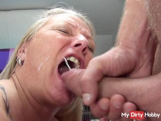 Monster cock squirts face and mouth full!