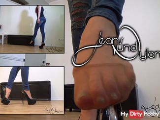 Jeans And Feet In Nylons