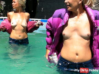 With Moncler Jackets and Jeans in an outdoor pool
