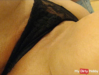 Pussy stroking in black string