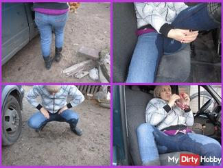 pissing in jeans in the car