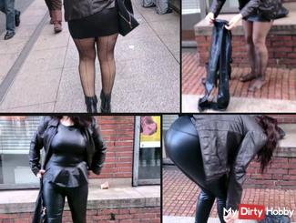 Shameless !! Nylon bitch has attracted the heart of Cologne Latex Leggings