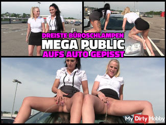 MEGA DREIST - Horny office sluts piss PUBLIC on the car
