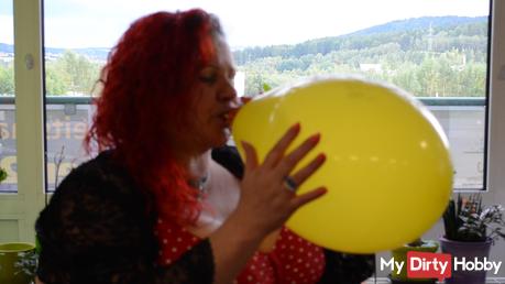Ballon wird aufgeblasen.. die Vorbereitung.