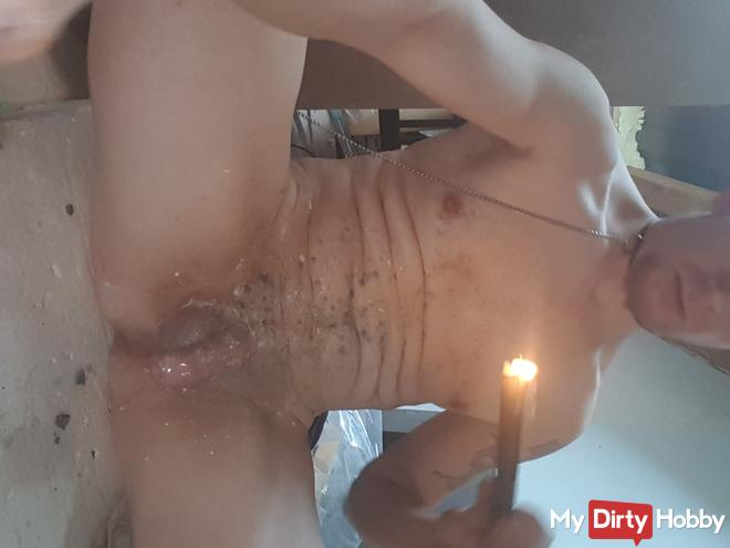 Waxplay on cock and balls
