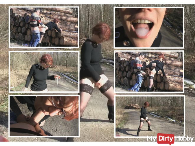 Cum sex and pissing - all at the edge of the forest