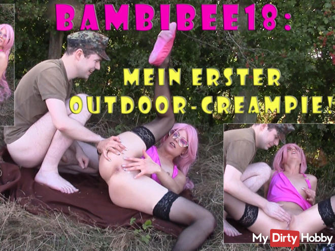 Teeny BambiBee18: My first outdoor creampie!