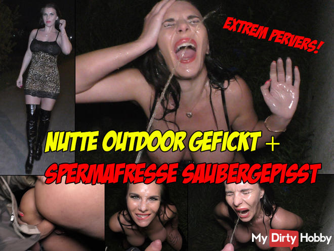 Extremely perverted! Hooker fucked outdoor and pissed clean Spermafresse