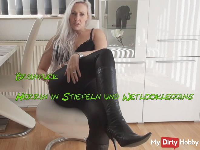 Brainfuck mistress in boots and leggings