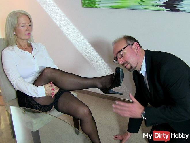 Office slave has to swallow cum !!