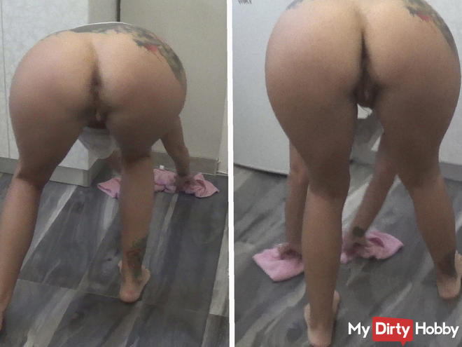 My step brother pervert asked me to take off my panties before cleaning