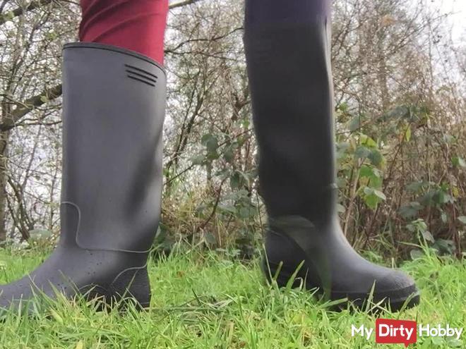 Arikajira New Black Rain Boots Fetish