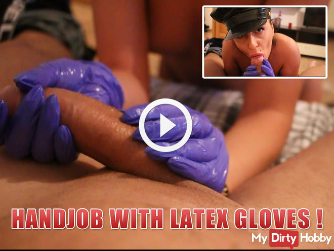 handjob with latex gloves !