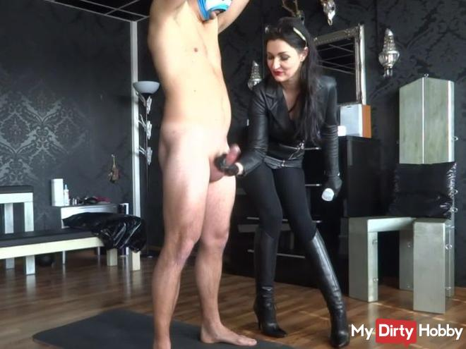Just a great ruined orgasm handjob with a lot white and thick sperm!