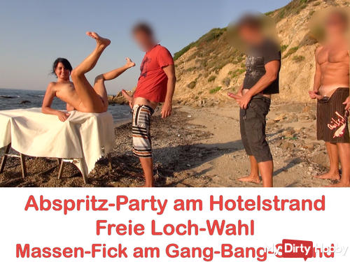Cumshot party at the hotel beach. Free hole choice! Everyone can run! AO