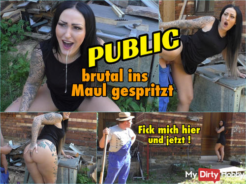 PUBLIC brutally injected into the mouth! Spontaneous now!