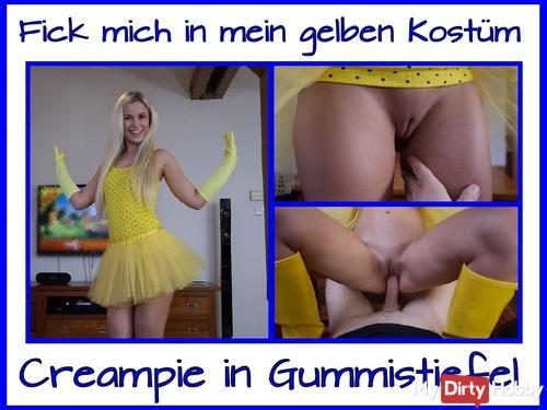 Gumboots Creampie in Yellow Costume