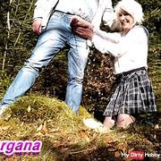 Schoolgirl peeing Dick in the Woods