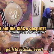Home visit to pornstar - sprayed bald!
