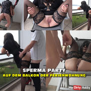 Cum party on the balcony of the apartment