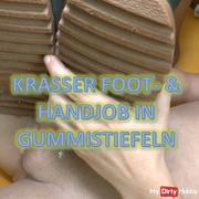 Krasser Foot and handjob in rubber boots
