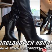 Incredibly horny! Mary fucked in boots & nylon catsuit!