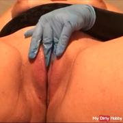 Fingering and wanking with latex glove