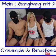 My first gangbang with 2 users with creampie and breast Cum ...