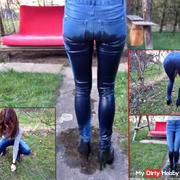 Stretchjeans vollpissen + NS-wet weed pluck