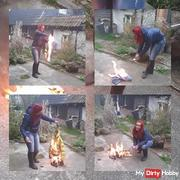 Fire fetish, jeans and down jacket is burned