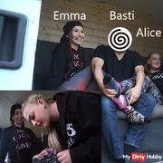 First user meeting. Alice, Emma, ??Basti and Tobey. Spit in the mouth. Spitting Part 1 of 2
