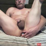 cumshot with anal vibrator in the ass