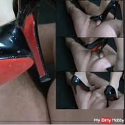 Cage high heels jerking trampling at 'slave