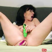 Double dildo on cam