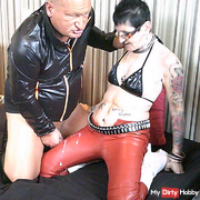 Cum shot at her shiny red PVC pants