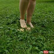 A mushroom and my naked feet