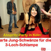 Abspritz party in Cologne. 10 thick cocks for the latex slut