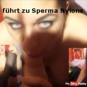 Footjob leads to sperm nylons