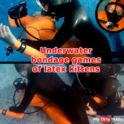 Underwater bondage games of latex kittens