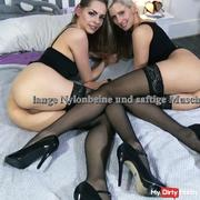 Long nylon legs and juicy pussies