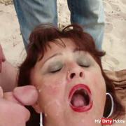 Blowbang with a 56-year-old cum slut