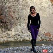 Pee in purple leggings