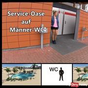 Service oasis on men's toilet
