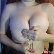I spit on huge tits and a dildo between tits