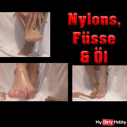 Sexy nylon feet with great oil show