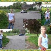 Sweet blonde makes public Pippi on highway !!!