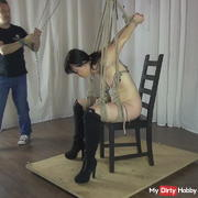 Hanging - nipples and lips pulled 1