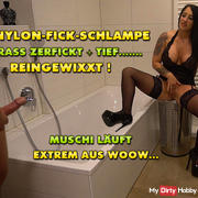 Nylon-Fick-bitch crass Fucked! XXXL deep Reingewixxt!
