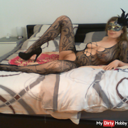 Spontaneous fuck in catsuit with highheels!