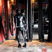 The fetlock shoulder: tied you with hand + foot cuffs all the way into latex
